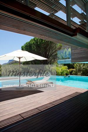 Swimming pool, lounge chair, umbrella