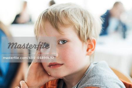 Portrait of Young Boy Looking at Camera, Copenhagen, Denmark