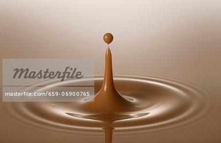 Drops of chocolate milk