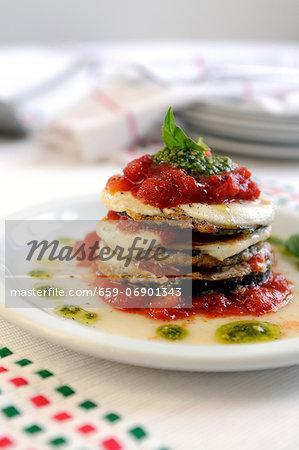 Aubergine parmigiana (aubergines with tomato and mozzarella)