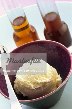Vanilla ice cream in a bowl