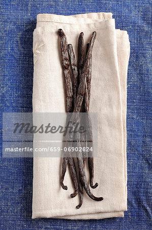 Vanilla pods on a cloth