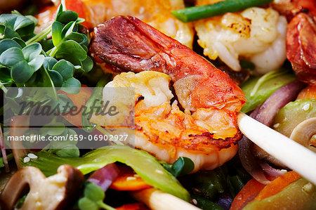 Fried prawn with stir-fried vegetables (Asia)
