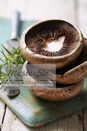 A stack of mushroom tops