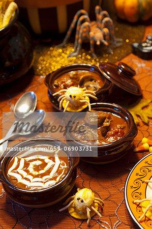 Three Halloween Soups with Halloween Decorations