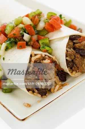 Beef and Raisin Picadillo Burritos with a Fresh Salsa