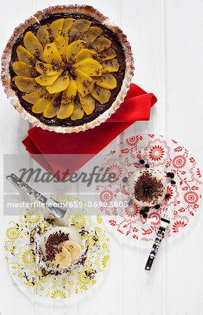 Coffee panna cotta, banana panna cotta and a chocolate and pear tarte