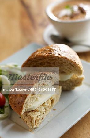 Plain Cheese Sandwich on a Bun; Halved