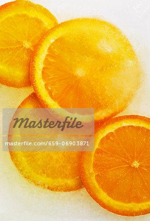 Frozen slices of orange