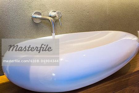 Bathroom sink with running water