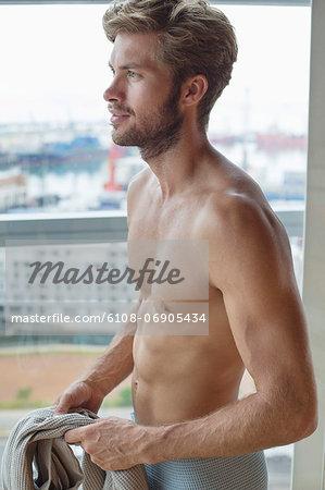 Close-up of a man in a sauna