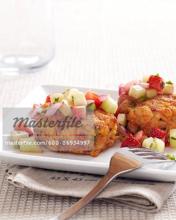 Crab Cakes with Fresh Fruit Salsa, Studio Shot