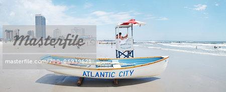 Lifeguard station on beach, Atlantic City, New Jersey, USA
