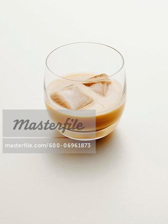 Glass of Cream Liqueur with Ice, Studio Shot