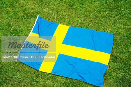 Swedish flag on lawn
