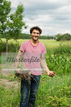 Man harvesting in garden