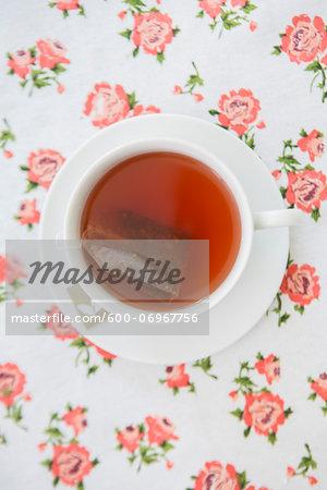 Overhead View of Cup of Tea with Tea Bag, Studio Shot