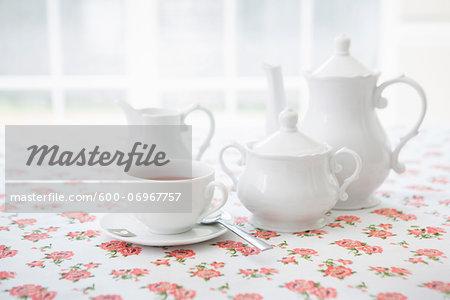 Tea Set with Cup of Tea, Studio Shot