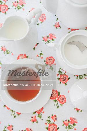 Overhead View of Tea Set with Cup of Tea, Studio Shot