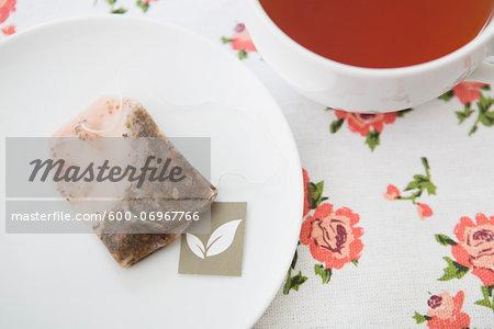 Overhead View of Used Tea Bag on Saucer with Cup of Tea, Studio Shot
