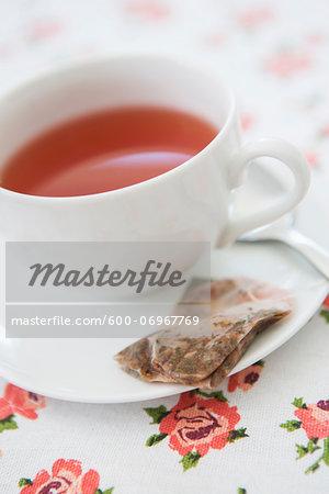 Cup of Tea with Used Tea Bag, Studio Shot