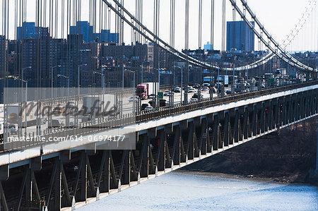 Traffic crossing George Washington bridge to New York, USA