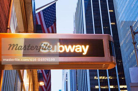 Illuminated subway sign, New York City, USA