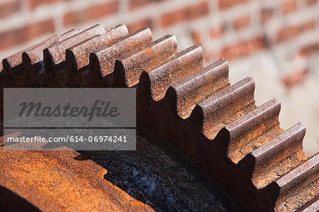 Close up of rusting cogwheel