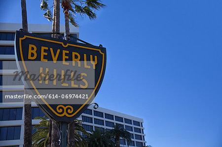Beverly Hills sign against blue sky