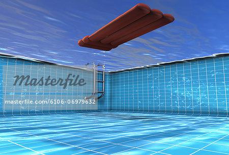 Inflatable matress in swimming pool, underwater view (digital)