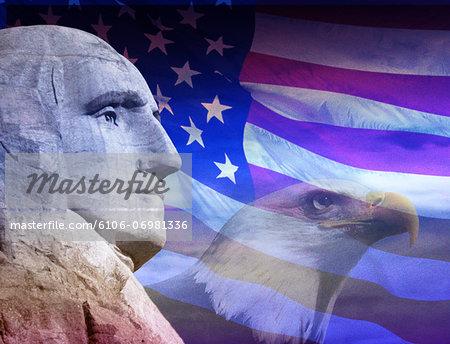 George Washington, bald eagle and American flag (Digital Composite)
