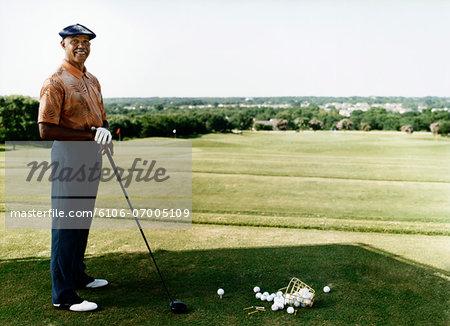 Portrait of a Senior Golfer at a Golf Course
