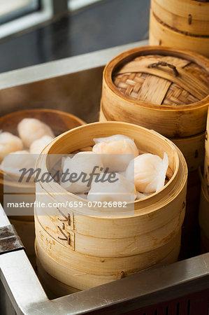 Har Gau (Chinese Shrimp Dumplings) in a Steamer