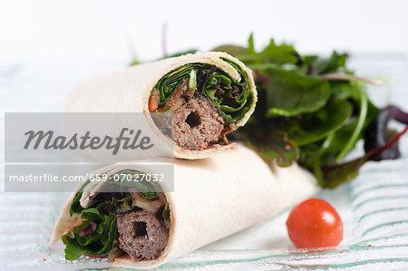 Wraps filled with lamb kebab