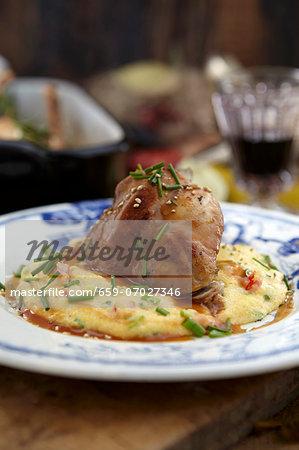 Roast hare with mashed potato