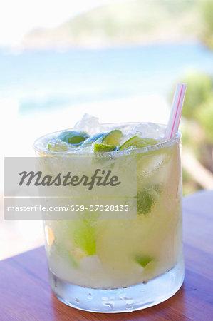 Caipirinha; Brazil's National Cocktail on an Outdoor Table
