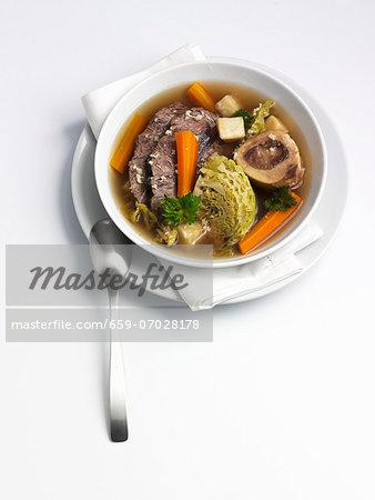 Pot au feu with savoy cabbage