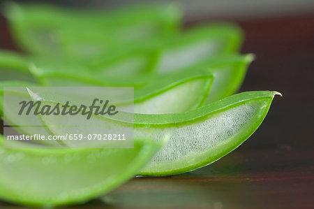 Sliced aloe vera shoots (close-up)