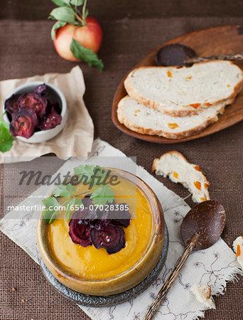 Sweet potato & apple soup with beetroot crisps and apricot & hazelnut bread