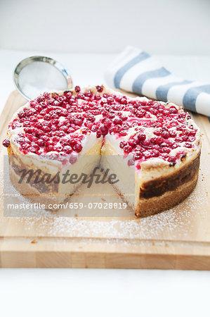 Redcurrant cake, one slice missing