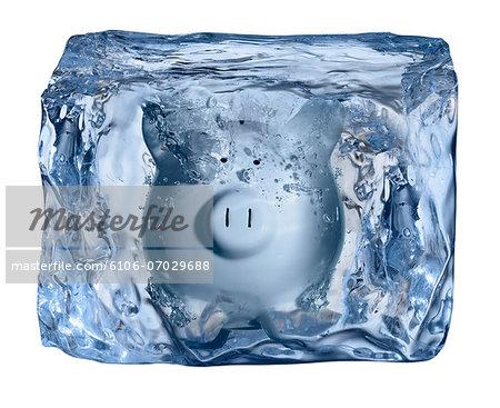 Ice Block, frozen piggy bank