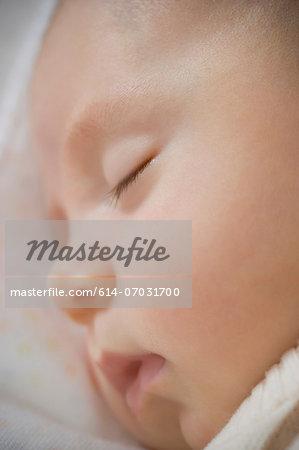 Baby boy sleeping, close up
