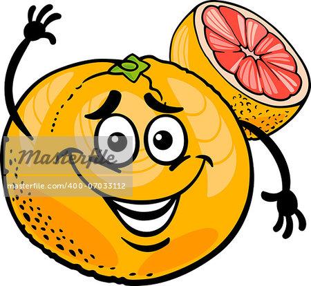 Cartoon Illustration of Funny Red Grapefruit Fruit Food Comic Character