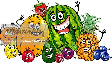 Cartoon Illustration of Funny Fruits Food Characters Big Group