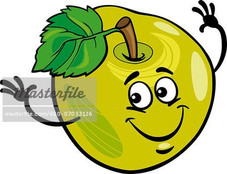 Cartoon Illustration of Funny Green Apple Fruit Food Comic Character
