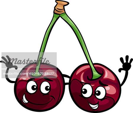 Cartoon Illustration of Funny Black Cherry Fruits Food Comic Character