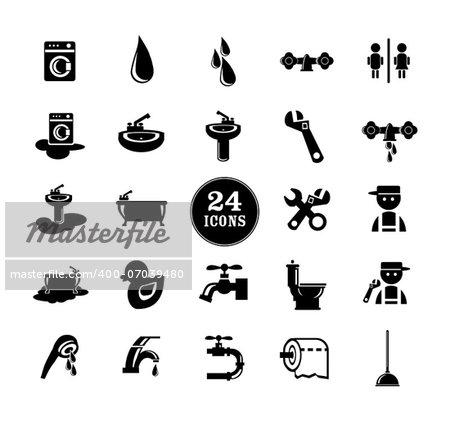 Black Bathroom Icons Set, eps vector illustration