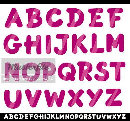 Cartoon Illustration of Capital Letters Alphabet for Children Education