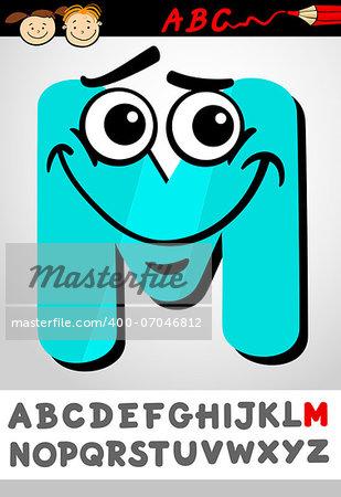 Cartoon Illustration of Cute Capital Letter M from Alphabet for Children Education