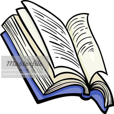 Cartoon Illustration of Open Book Clip Art